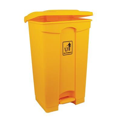87L Polypropylene Pedal Bin Yellow